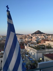 A view from the top of the restaurant where we ate our last dinner in Athens